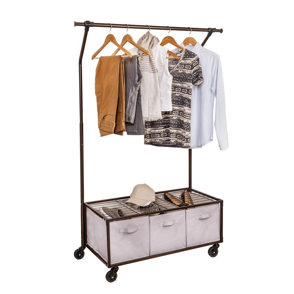 Portable garment rack with storage bins bronze in