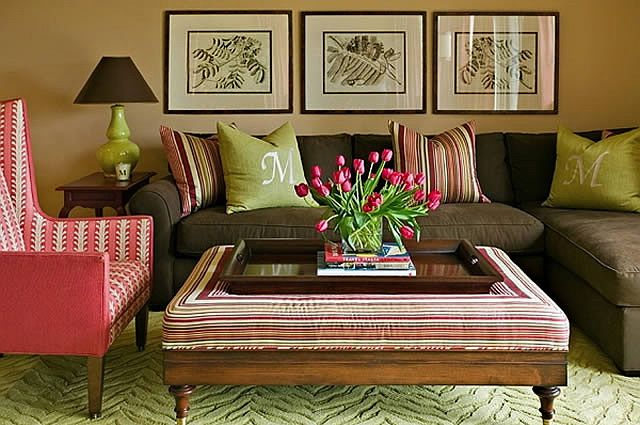 Coral And Green Living Room Colourful Living Room Eclectic Living Room Colorful Living Room Design