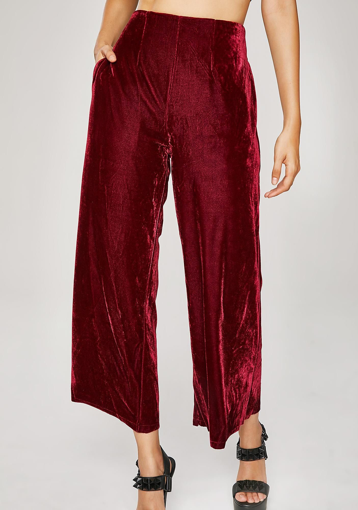 Tender Luv Velvet Culottes In 2020 Polyvore Outfits Capri Pants Outfits Red Trousers