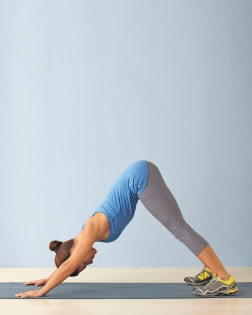 6-Back - Diamond Dog: Start in Downward-Facing Dog position with hands and feet shoulder-width apart, hips up, and head aligned between arms. Bend elbows and lower head toward the floor between your hands so that your shoulder blades come together (your body will shift forward slightly). Without pausing, slowly straighten arms and repeat. Repeat 6-10 Reps. What It Does: Stretches hamstrings and strengthens arms, shoulders, abdominals, and upper back