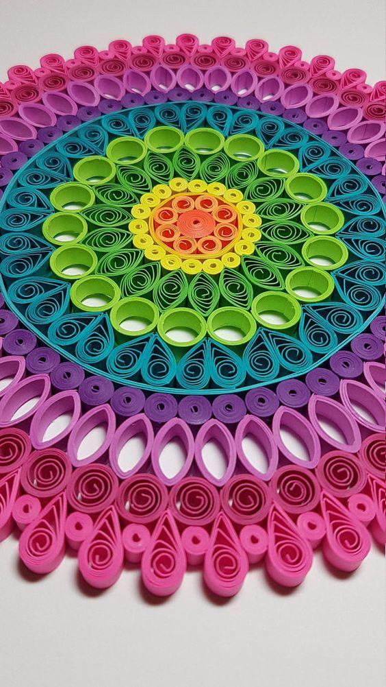 Paper Quilled Mandala - 9x9 | Tiras de papel, Filigranas de papel y ...