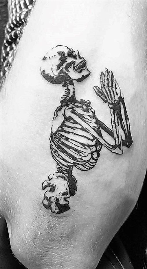 Praying Skeleton Tattoo | Dope Tatts | Skeleton tattoos ...