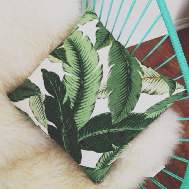 #elahawkevintage #etsy #cushion #pillow #tropical #palm #tree #leaf #print #home…