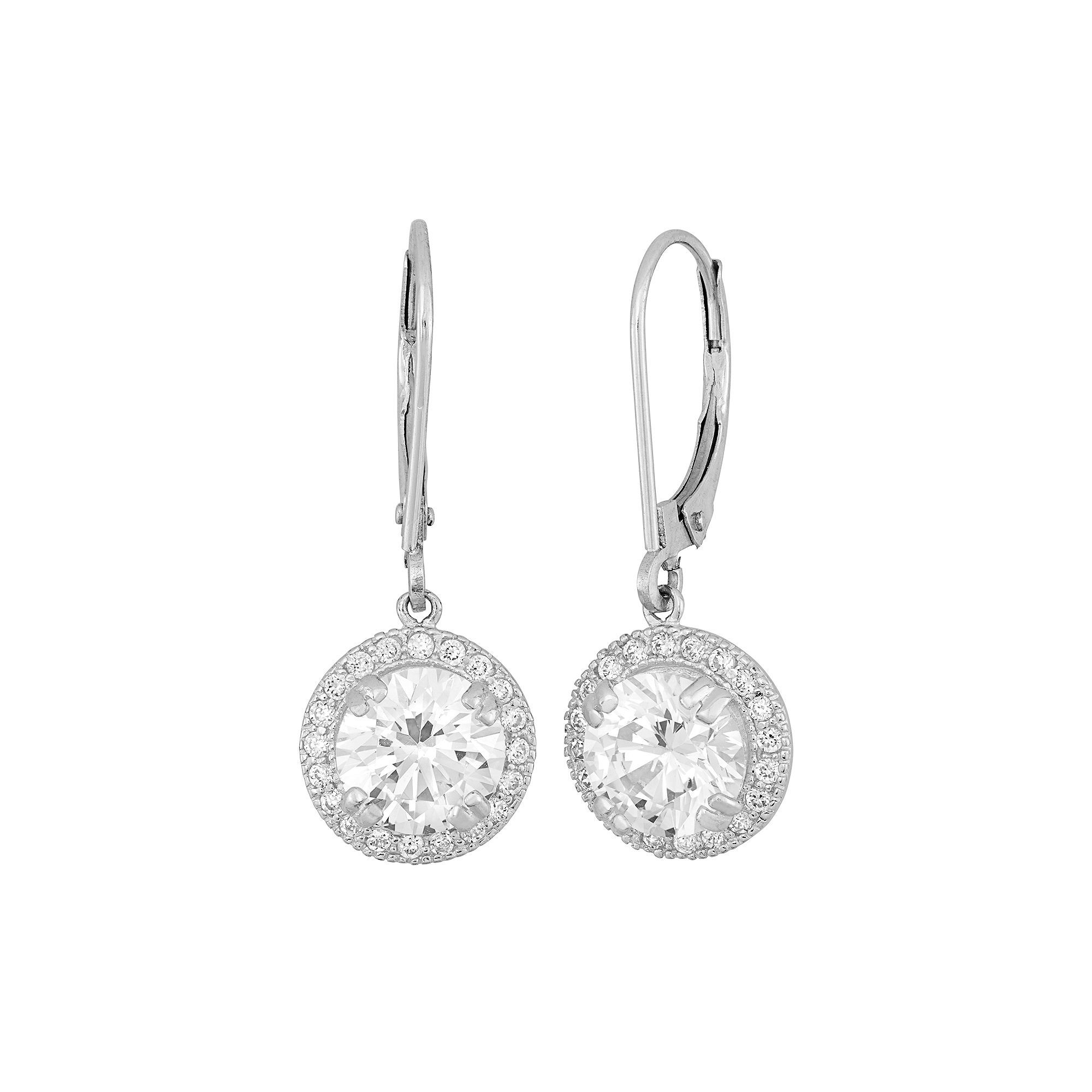 Cubic Zirconia 10k Gold Drop Earrings, Women's, White