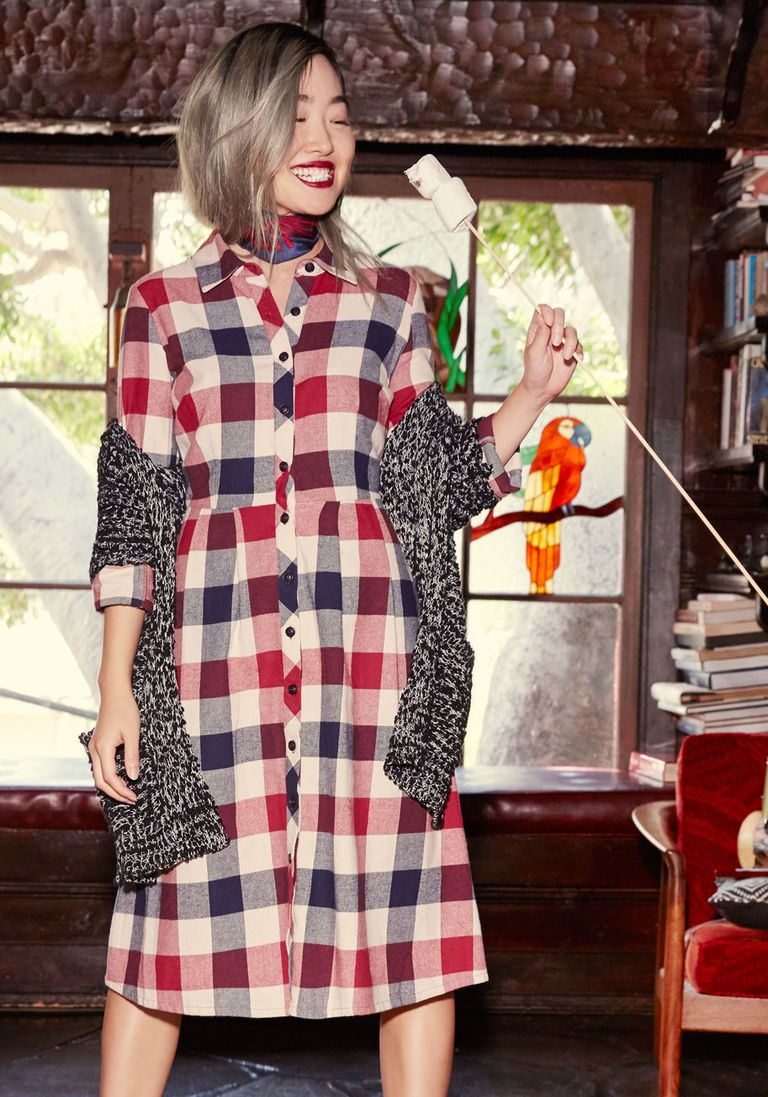 Plus size flannel shirt dress  Jam Girl Shirt Dress in Mixed Berry in X  Long Midi  Plus Sizes