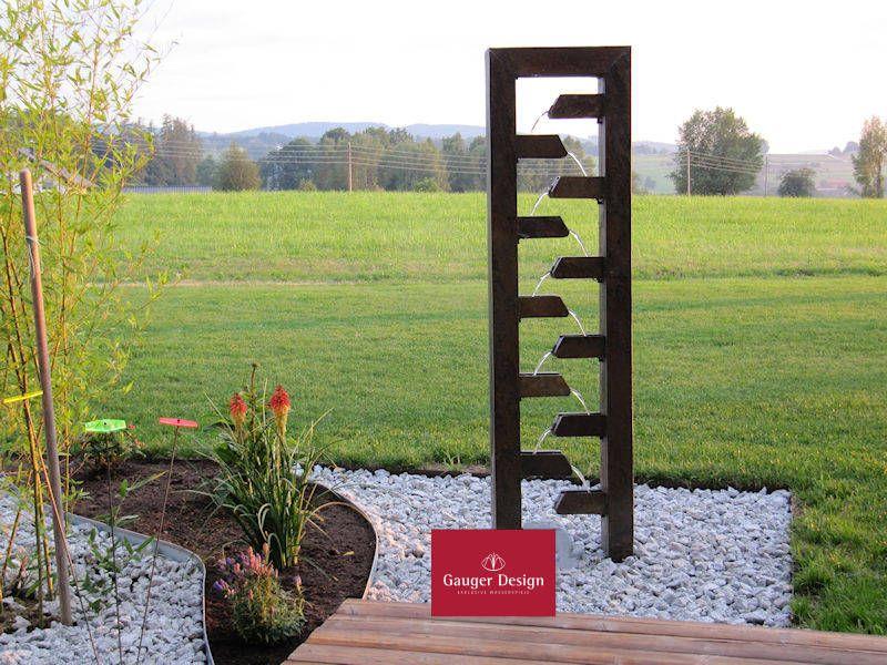 Http Www Designer Brunnen De Cortenstahl Kaskadenbrunnen Garten Htm Brunnen Garten Wasserwand Garten Springbrunnen