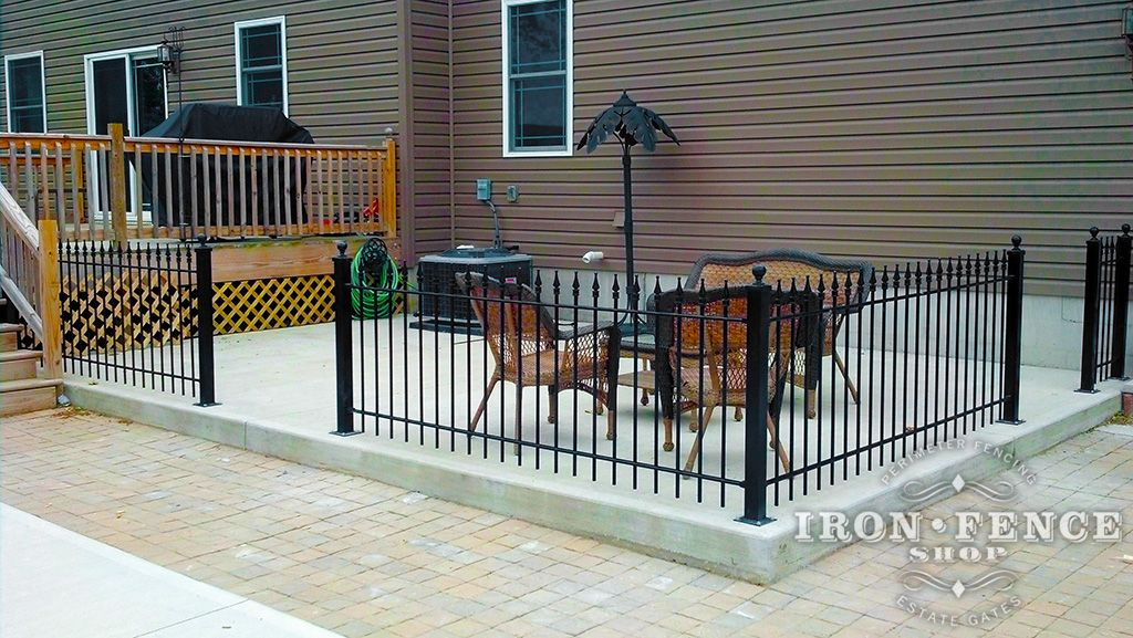 Beautiful Example Of A Diy Wrought Iron Fence Accenting Patio Sitting Area Using Posts To Bolt The Down
