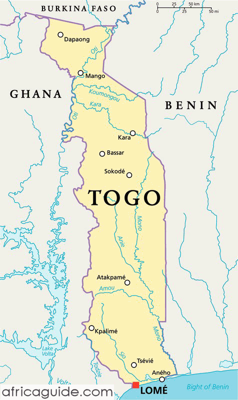 Togo map with capital Lome Togo Pinterest Africa Africa