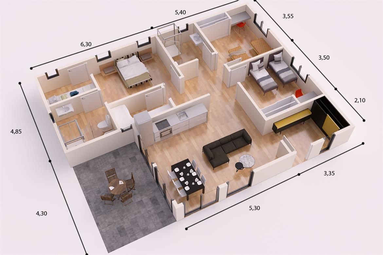 Tokio casa piloto 120m2 casas piloto casas favoritas for Diseno de casas minimalistas de una planta