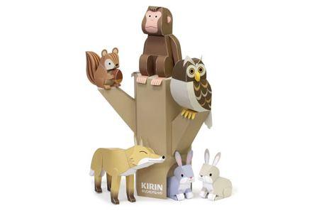 FREE printable woodland animal paper toys: fox, squirrel