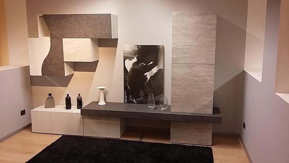 soggiorno moderno a torino parete attrezzata stone cemento ...