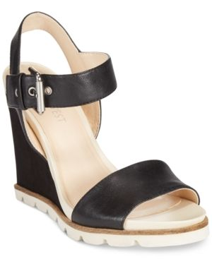 7a1f7cc7da0 Nine West Gronigen Wedge Sandals - Black 10M