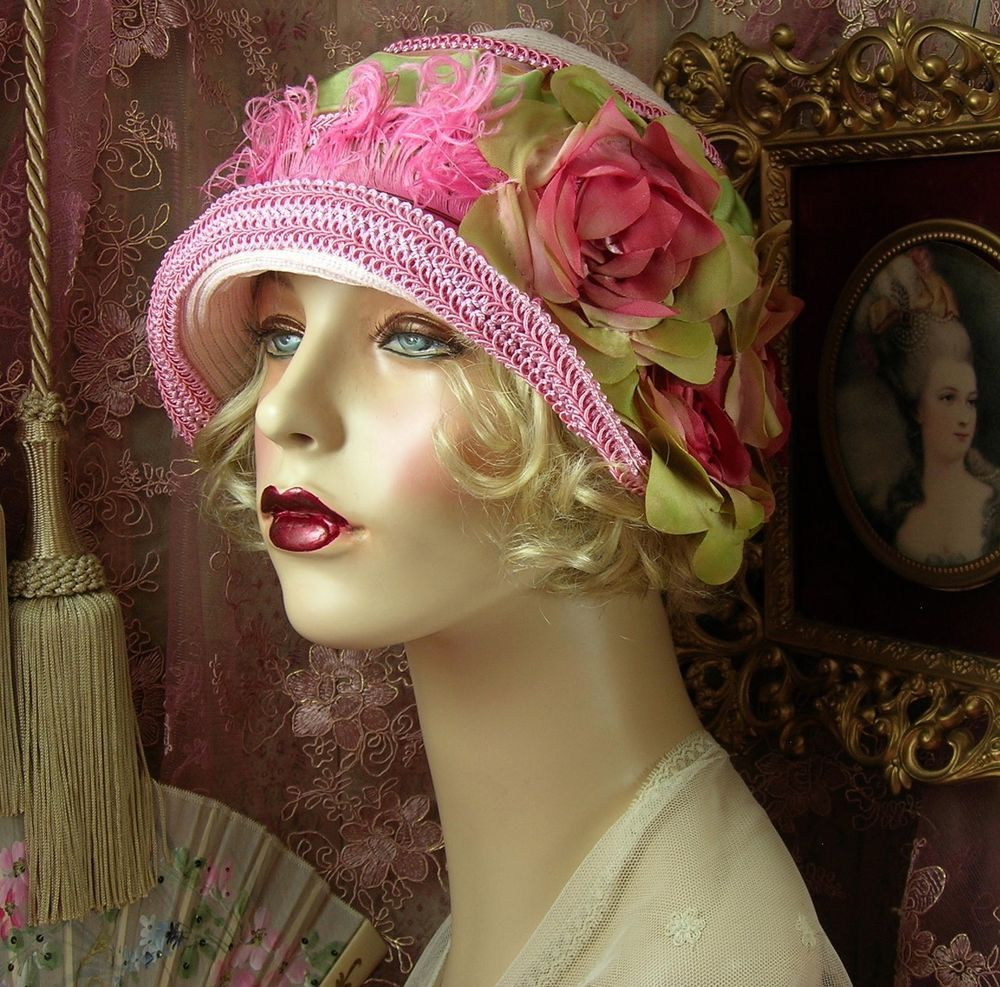 1920 S VINTAGE STYLE GATSBY PINK & GREEN OMBRE FLOWER FEATHER CLOCHE FLAPPER HAT