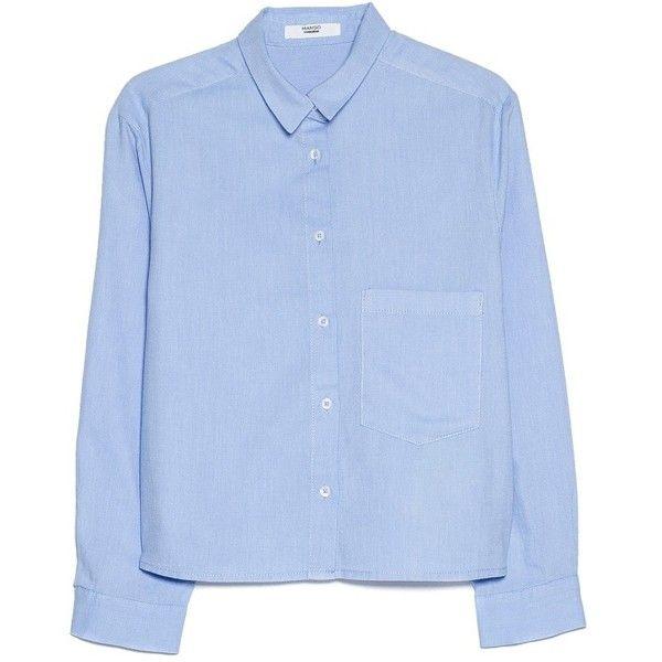 MANGO Pocket Cropped Shirt (165 NOK) ❤ liked on Polyvore