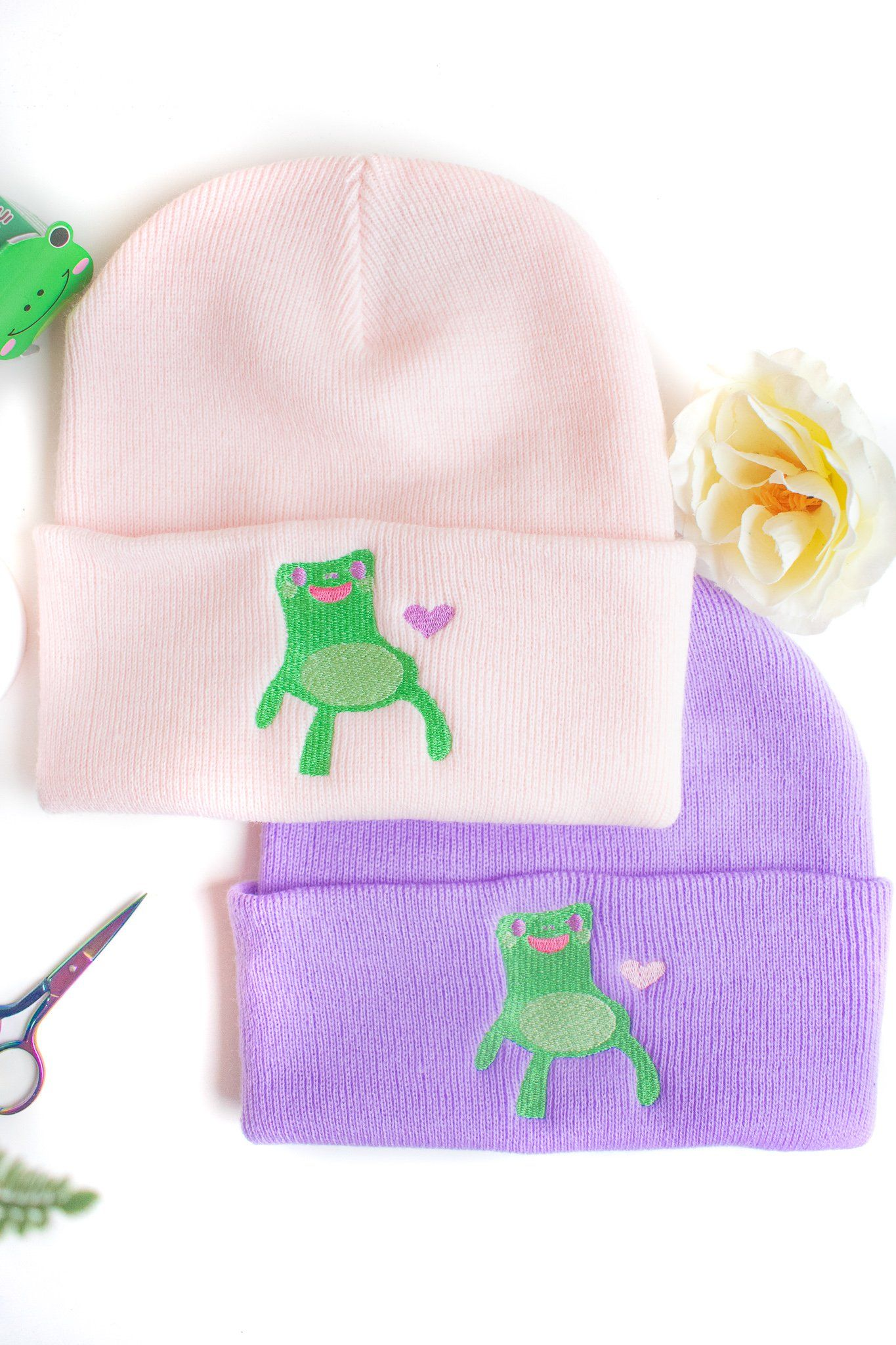 Photo of Frog Chair Heart Embroidered Beanie – Lavender