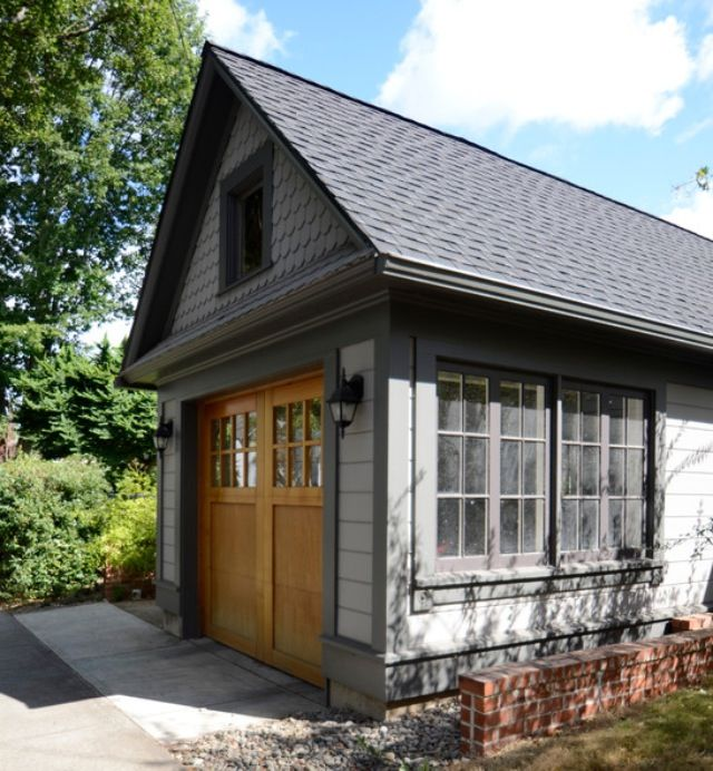 25 Awesome Garage Door Design Ideas: Grey Shed Colour. Natural Wood Doors. In 2019