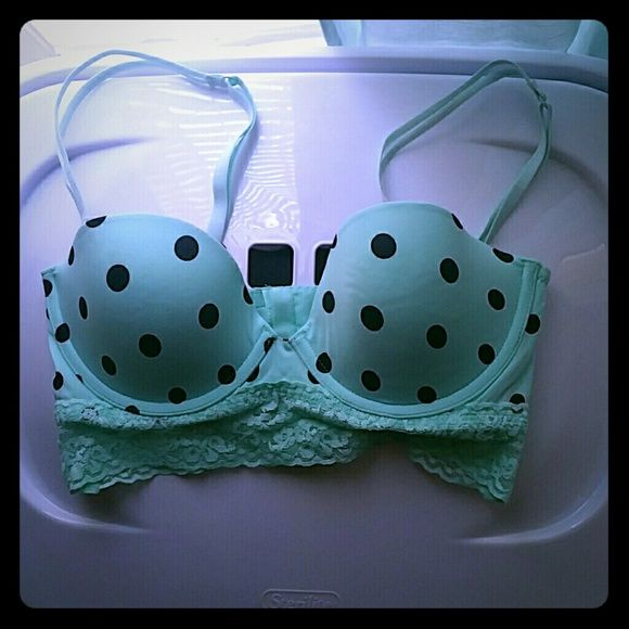 NWT victoria secret corset bras Brand new never worn!! Gorgeous mint color with black polka dots, lace detailing at the bottom. The straps are removable so you can wear it as a strapless bra as well! Victoria's Secret Intimates & Sleepwear Bras