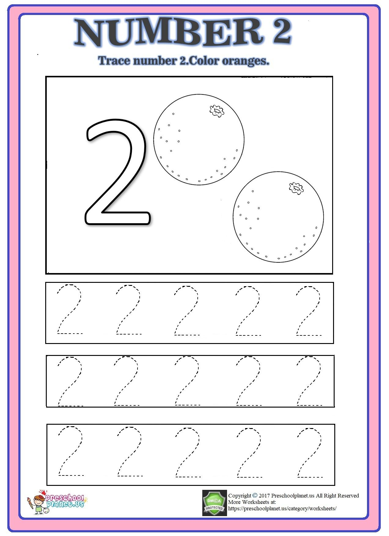 Number 2 trace worksheet Preschool worksheets, Numbers