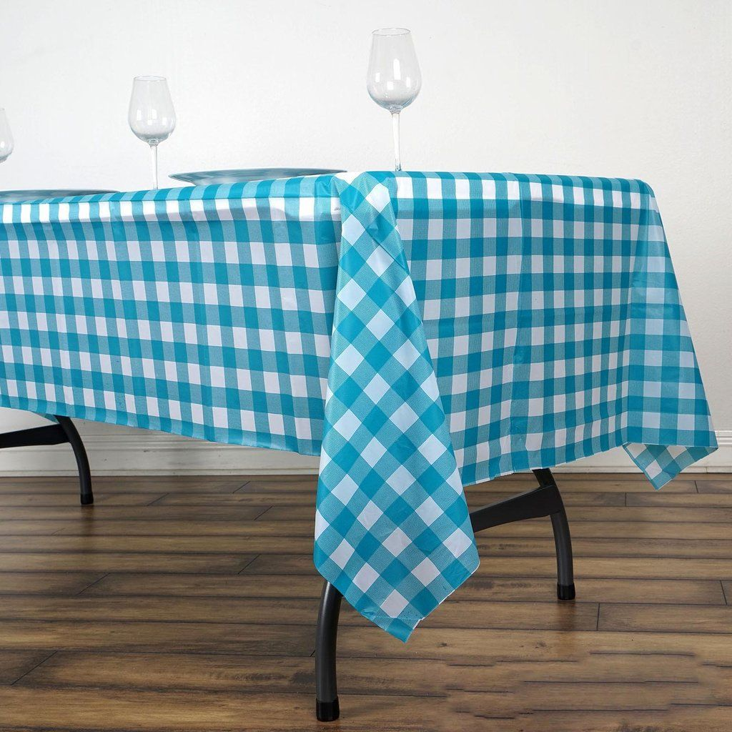 Buffalo Plaid Tablecloth 54 X 72 Rectangular Spill Proof Tablecloths White Turquoise Disposable Checkered Plastic Vinyl Waterproof Tablecloths In 2020 Plastic Table Covers Table Covers Plaid Tablecloth
