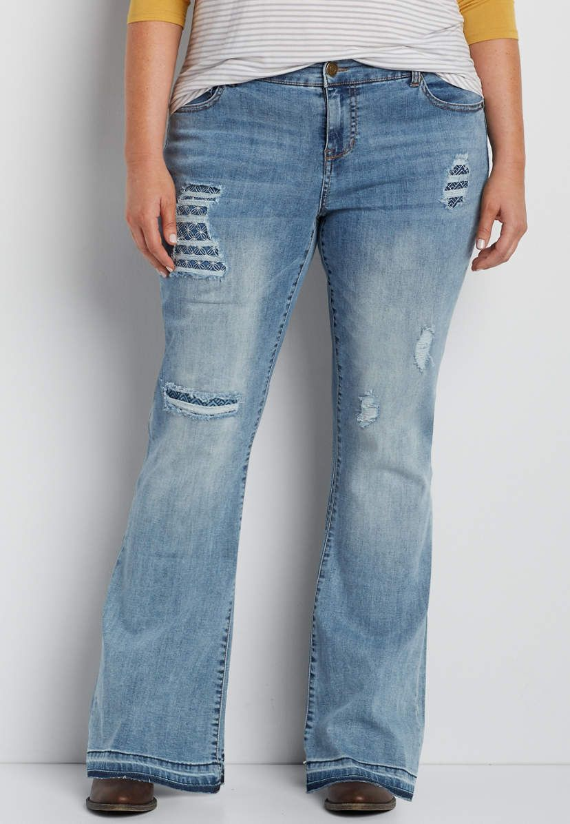 8bf807145327c DenimFlex™ plus size destructed flare jeans with embroidered lining ...