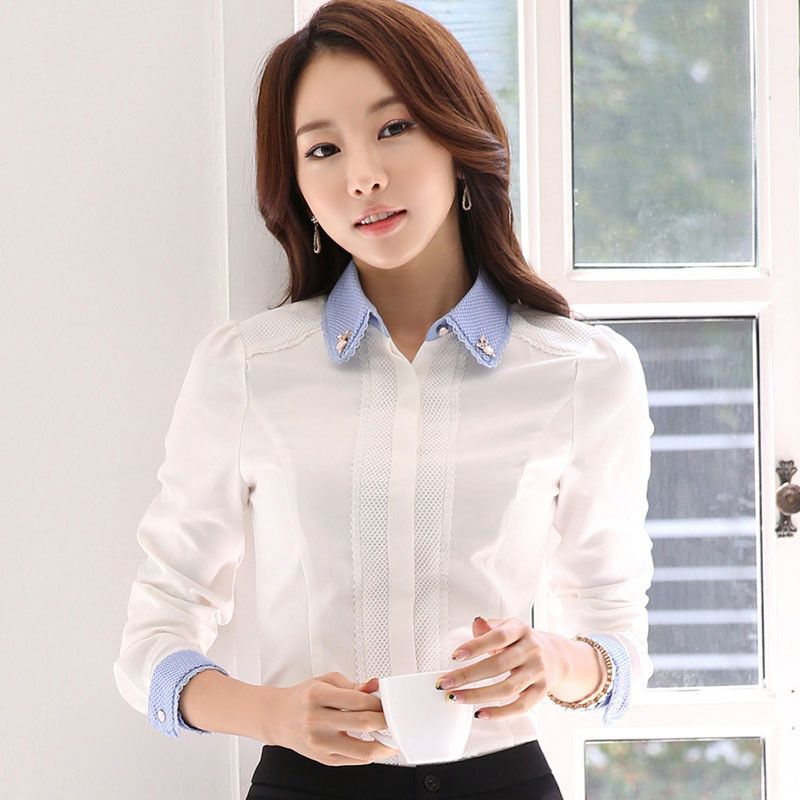8f47f20cde9ddc Women elegant Blouse Female cotton Shirts Ladies work wear office shirt New  Fashion Long Sleeve White Tops Polo plus size