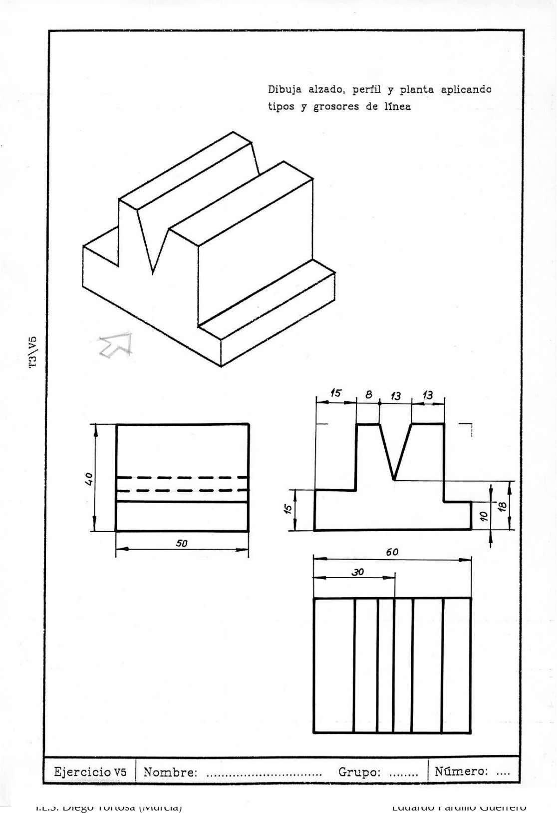 Ejercicios Dibujo Tecnico Y Soluciones 3º Eso Ejercicios De Dibujo Tecnicas De Dibujo Vistas Dibujo Tecnico