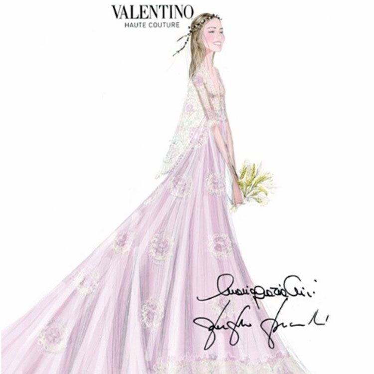 Sketch of one of Beatrice Borromeo's Valentino Haute Couture wedding gowns