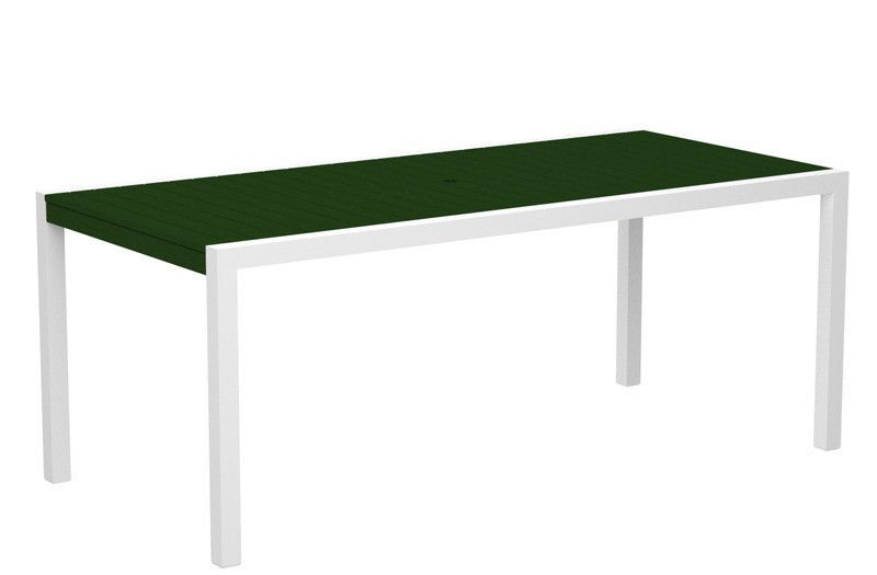 "Polywood 8300-13GR MOD 36"" x 73"" Dining Table in Textured White Aluminum Frame / Green"