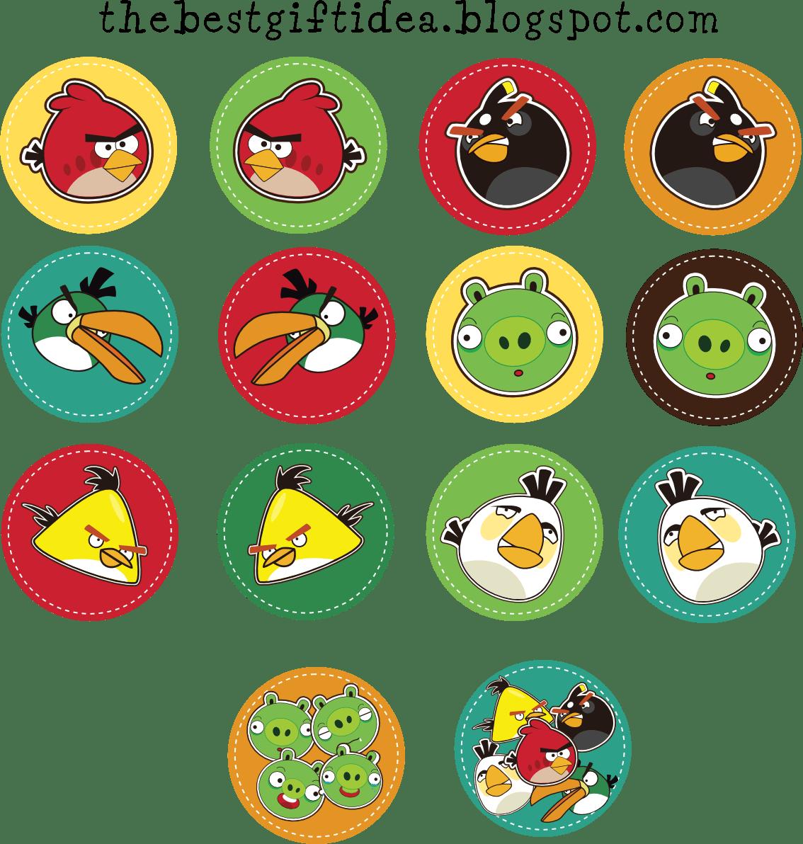 Complete Set Of Angry Birds Circle Sticker Stiker Anak Gambar
