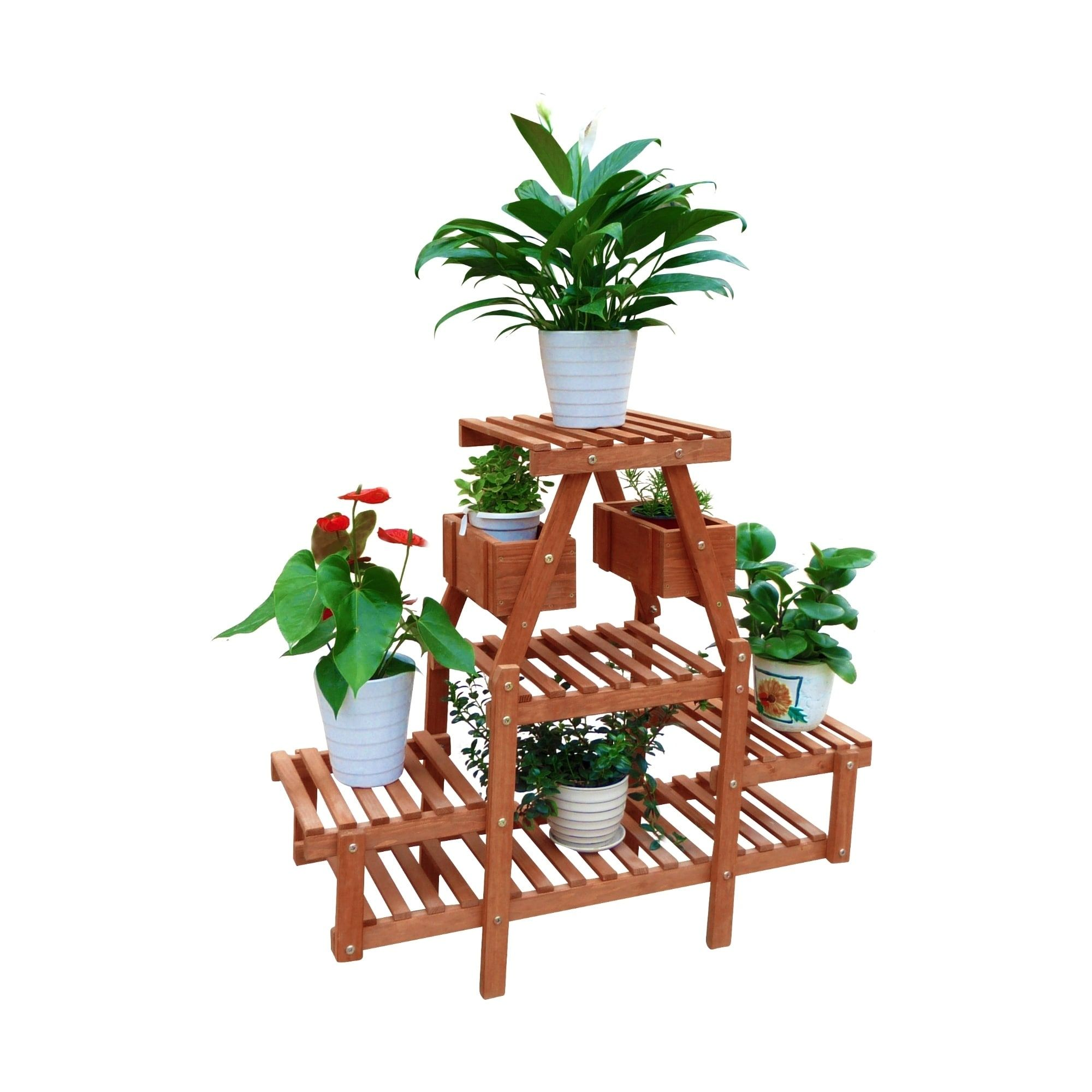 4-Tier Plant Stand With Pot Holders, Brown (Cedar) #PS3177