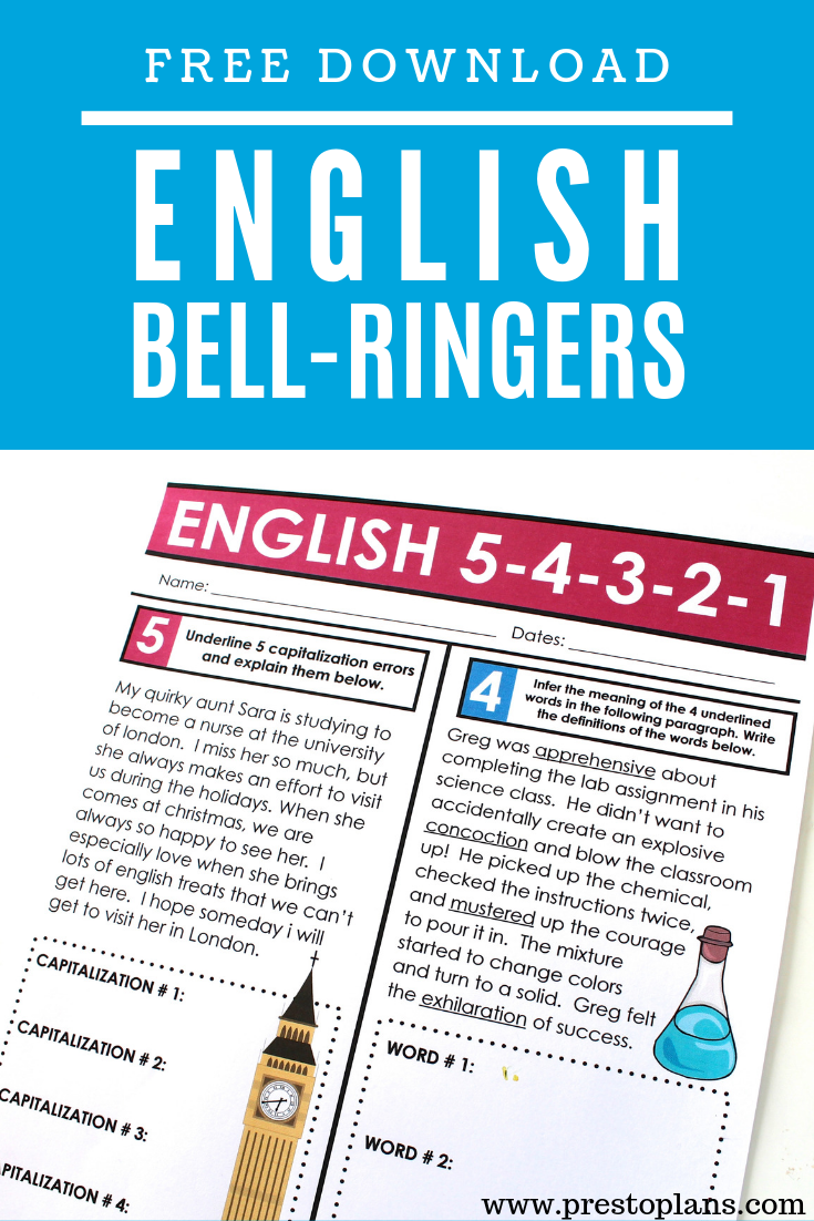 Free week of english bell ringers or homework | Middle High