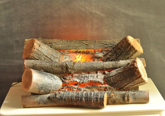 Vintage Faux Fireplace Log Light I Wish I Had A Faux Fireplace To Put This In Faux Fireplace Fireplace Logs Diy Fireplace