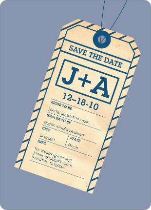 baggage claim inspired save the dates for destination weddings.