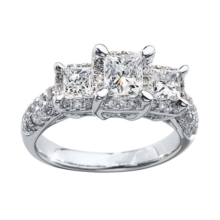 7696d7a82 Style 990839401, three-stone diamond ring 2 ct tw princess-cut 14k white  gold, $4,999.99, Kay Jewelers