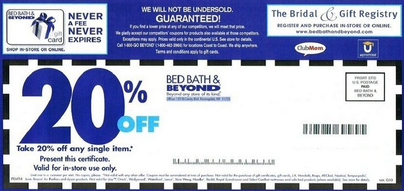 Bed Bath And Beyond Coupon 20 Off Entire Purchase Free Printable