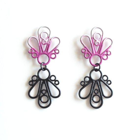 boucles d'oreilles ombre gris et violet par StudioMETHODE sur Etsy. $63.59 1 en stock