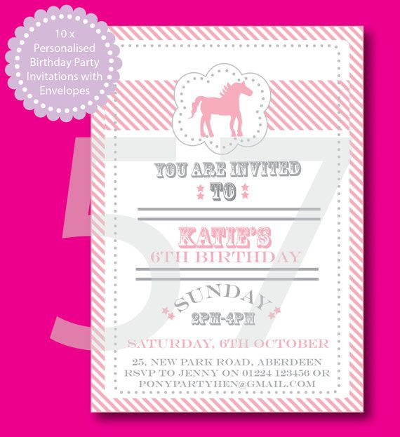Printed Horse or Pony Personalised Party by 57DegreesNorth on Etsy