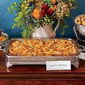 """This luscious gratin strikes a happy middle chord for those hungry for potatoes and those vying for a sweet potato casserole."" --Nancy Vienneau, author of Third Thursday Community Potluck Cookbook, from which this recipe was adapted."