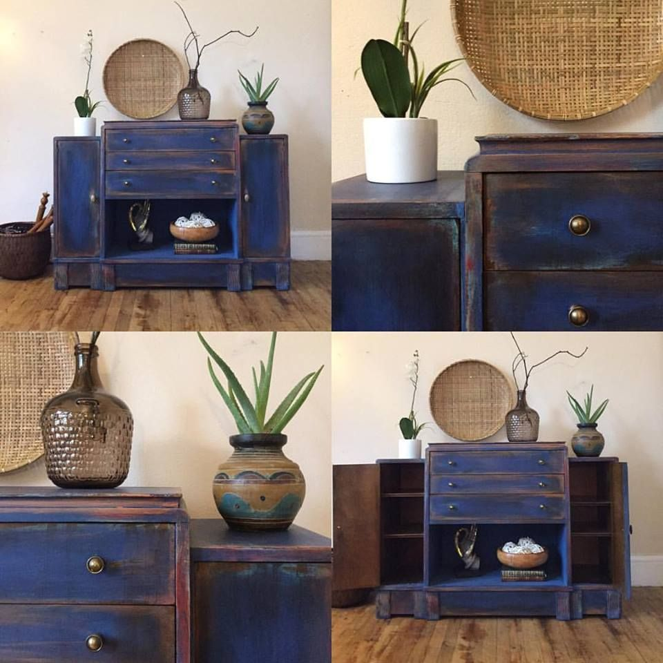 Girl in Blue Designs :l:  CeCe Caldwell's Chalk + Clay Paint  :l: Windsor Blue :l: Art Deco Buffet :l: Restyled :l: Painted Furniture