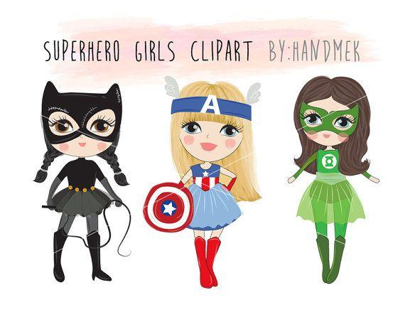 Cute Superhero Girls Clipart Set 1 Instant Download Png File Etsy In 2021 Girl Clipart Girl Superhero Clip Art