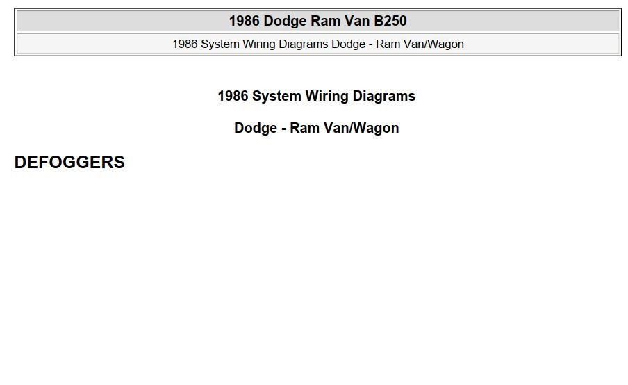 New Post Pdf Online Dodge Ram Van B250 1986 System Wiring Diagrams Has Been Published On Procarmanuals Com Https Procarma Dodge Ram Dodge Ram Van Ram Van