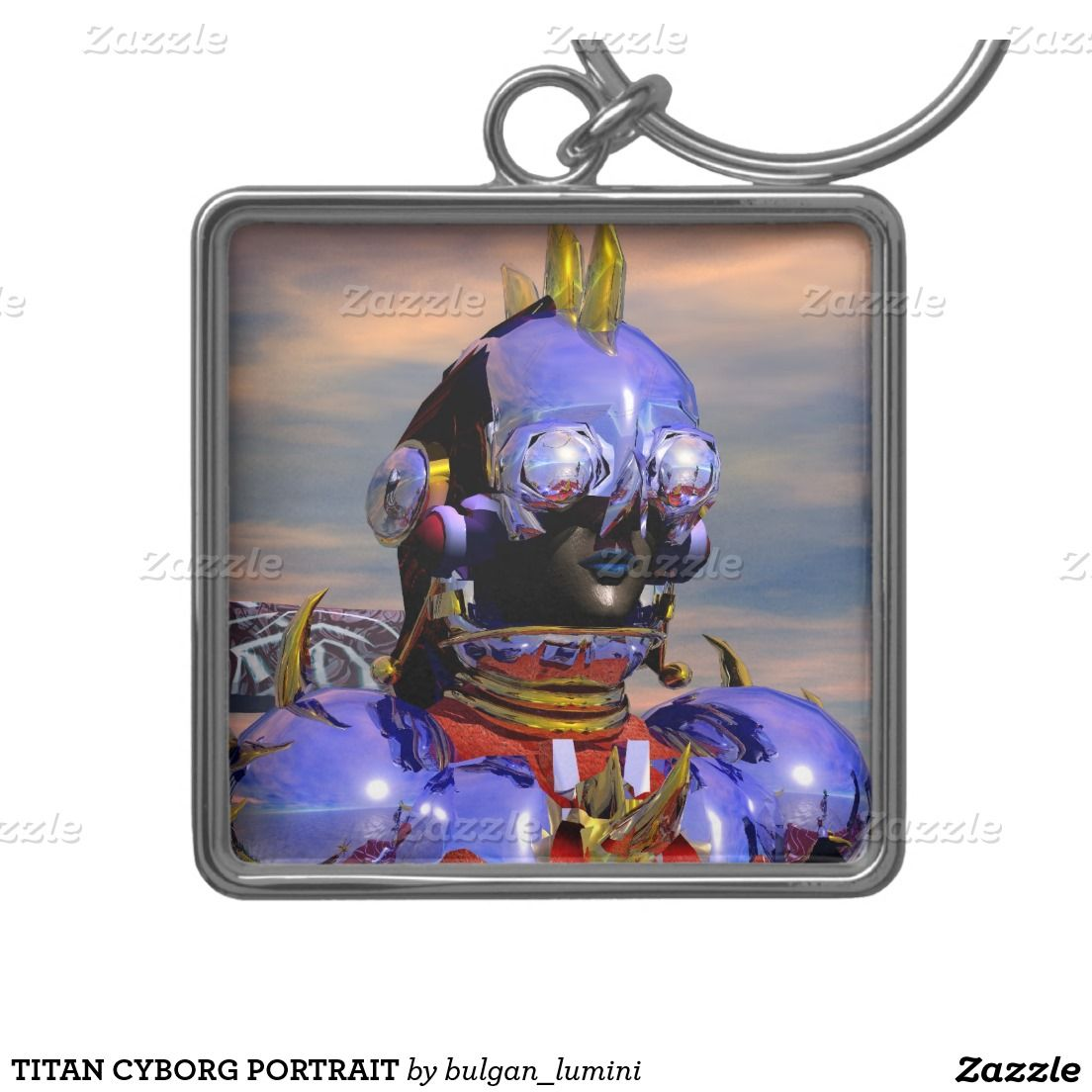 TITAN CYBORG PORTRAIT Science Fiction, Blue Silver-Colored Square Keychain