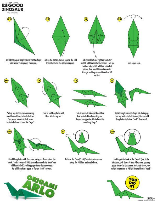 Disney The Good Dinosaur Arlo Origami Craft Instructions ... - photo#28