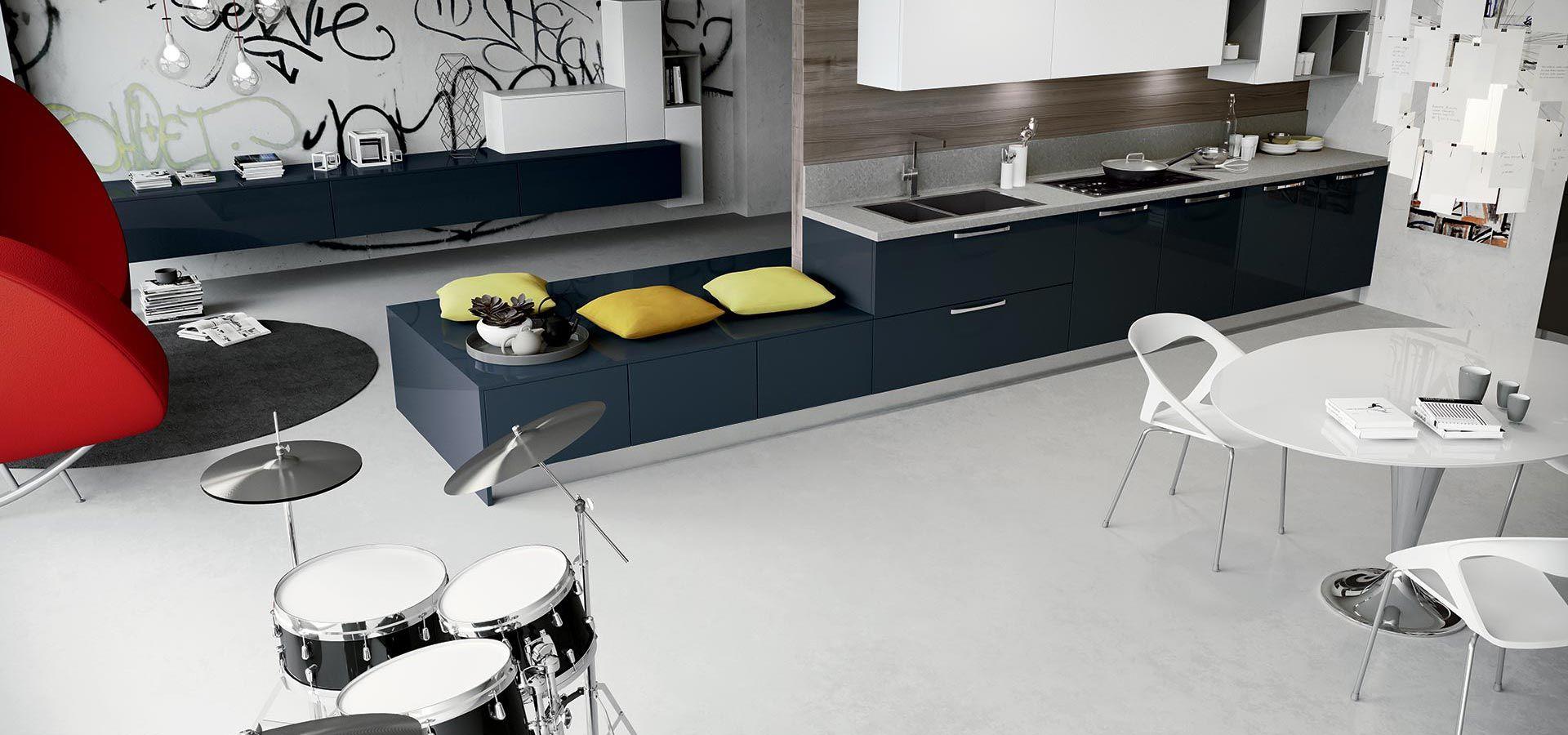 Cucina Moderna - Round Finitura petrolio e bianco | Vani a giorno ...