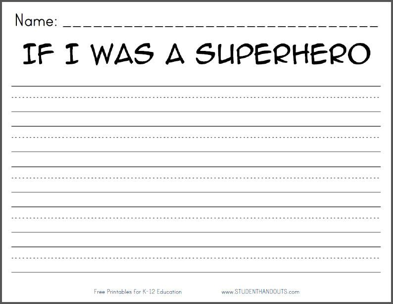superhero worksheets 4th grade free printable writing prompts for kindergarten through. Black Bedroom Furniture Sets. Home Design Ideas
