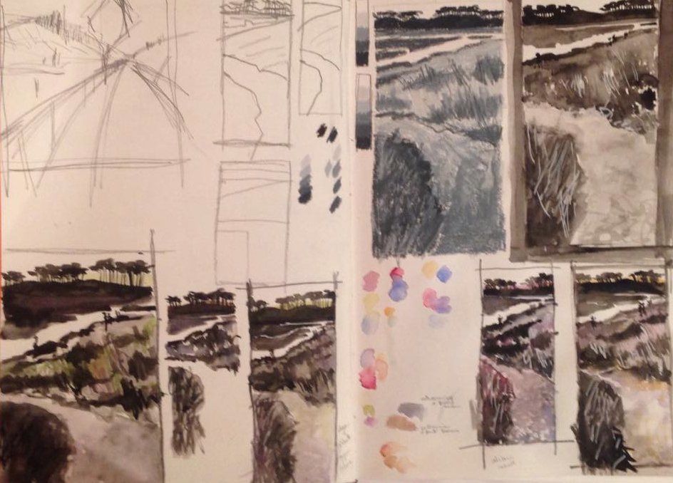 Alison Veazey - Sketchbook page developing a view of Budleigh Salterton, east Devon