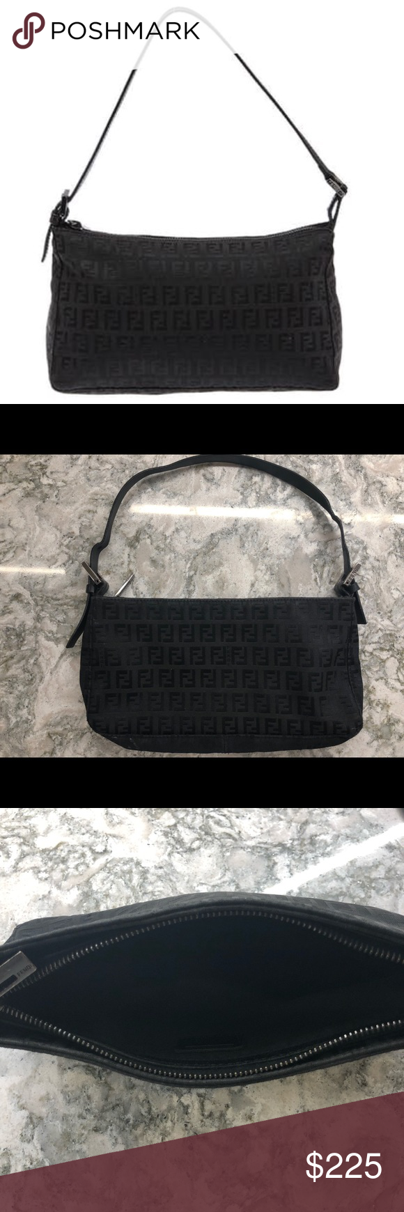 """15346078774 Authentic Fendi Zucca Bag Signature """"FF"""" monogram canvas in black with a  top zip closure and an adjustable leather strap with silver hardware.  Gently used."""