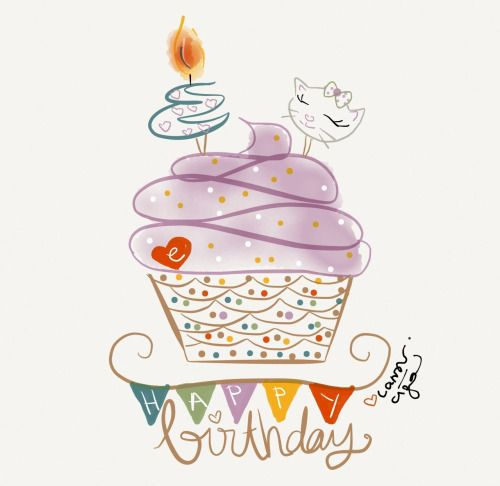 """**This one is a favorite ~ love the cat :-) Happy Birthday """"E""""Birthday Card Design"""