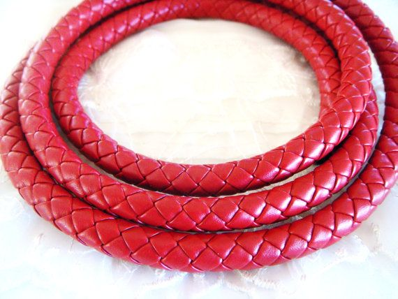 Red Braided Eco Leather Cord Faux leather 10mm Cord by vess65, $2.35