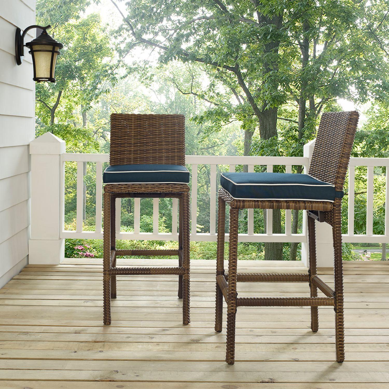 Destin Outdoor Set Of 2 Barstools Blue Patio Bar